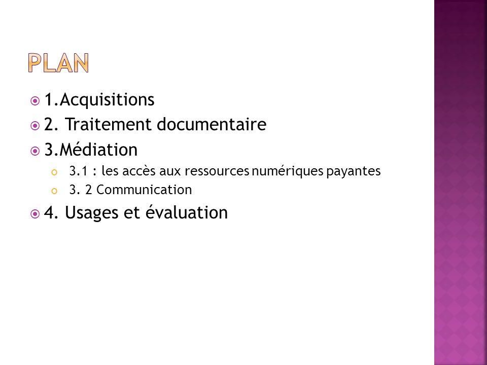 1.Acquisitions 2. Traitement documentaire 3.Médiation 3.1 : les accès aux ressources numériques payantes 3. 2 Communication 4. Usages et évaluation