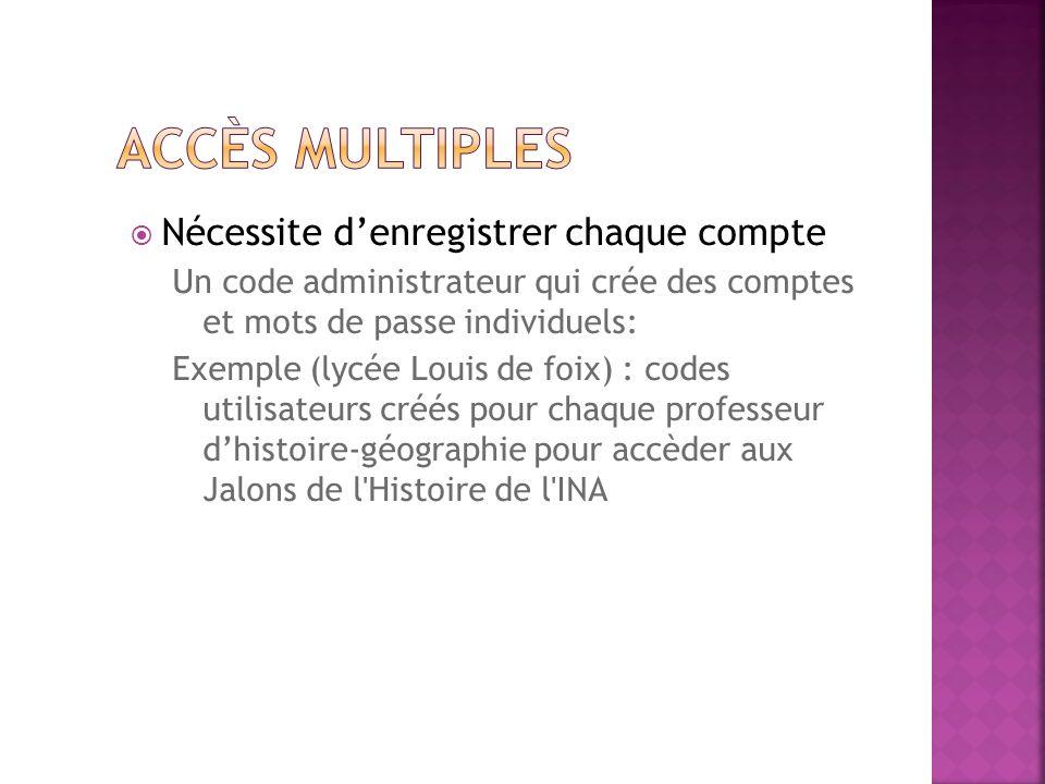 Nécessite denregistrer chaque compte Un code administrateur qui crée des comptes et mots de passe individuels: Exemple (lycée Louis de foix) : codes u