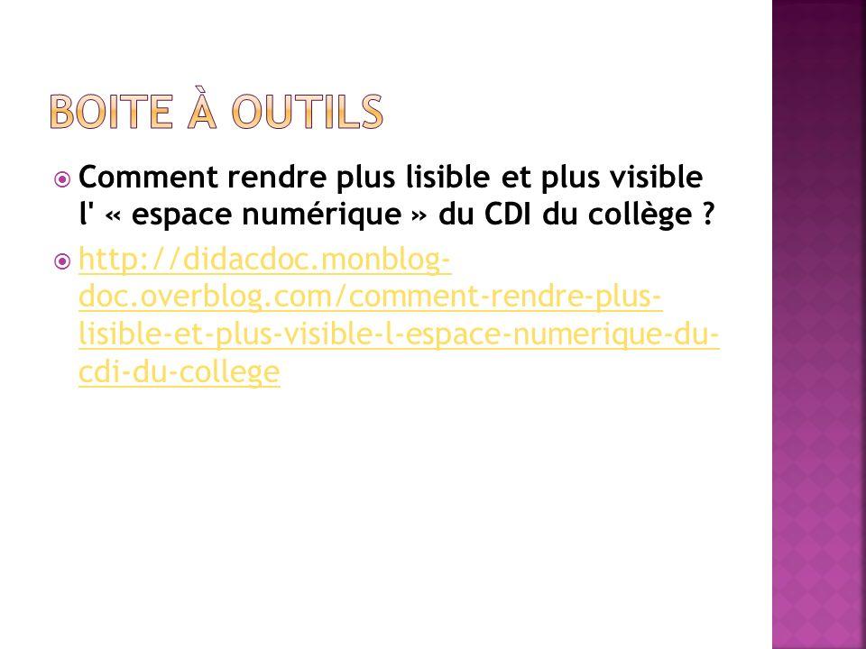 Comment rendre plus lisible et plus visible l' « espace numérique » du CDI du collège ? http://didacdoc.monblog- doc.overblog.com/comment-rendre-plus-