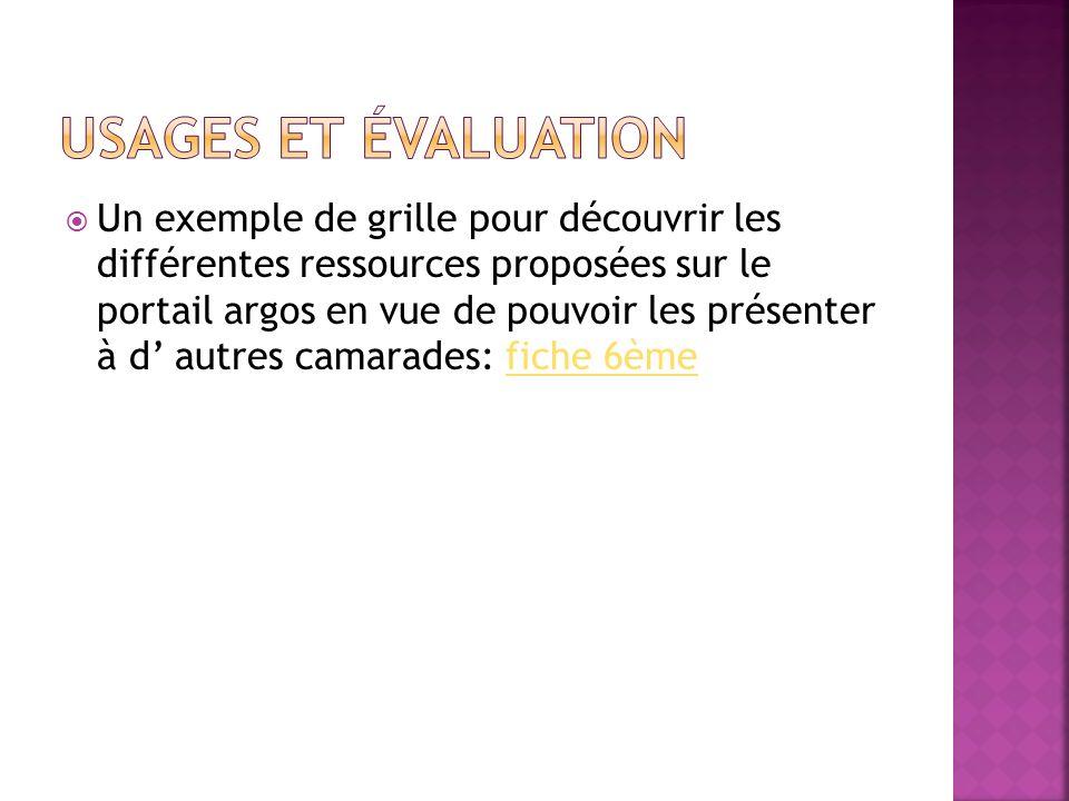 Un exemple de grille pour découvrir les différentes ressources proposées sur le portail argos en vue de pouvoir les présenter à d autres camarades: fi