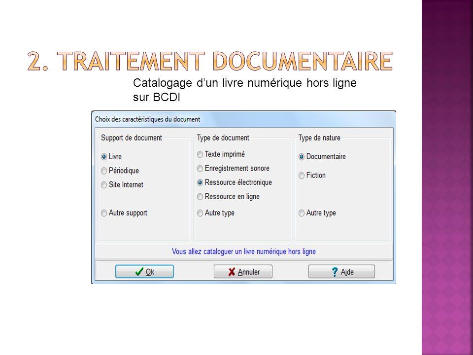 Catalogage dun livre numérique hors ligne sur BCDI