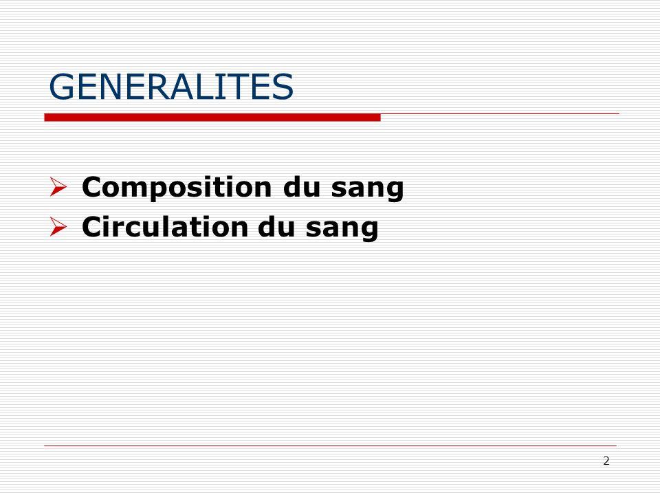 2 GENERALITES Composition du sang Circulation du sang