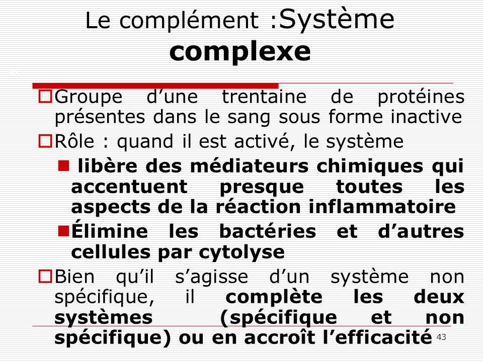 43 Le complément : Système complexe Groupe dune trentaine de protéines présentes dans le sang sous forme inactive Rôle : quand il est activé, le systè