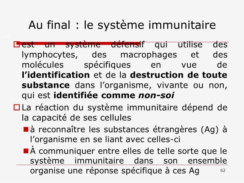 62 Au final : le système immunitaire est un système défensif qui utilise des lymphocytes, des macrophages et des molécules spécifiques en vue de liden