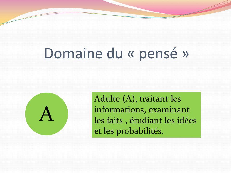 Domaine du « pensé » A Adulte (A), traitant les informations, examinant les faits, étudiant les idées et les probabilités.