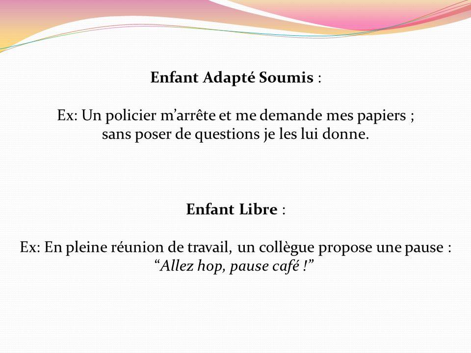 Enfant Adapté Soumis : Ex: Un policier marrête et me demande mes papiers ; sans poser de questions je les lui donne. Enfant Libre : Ex: En pleine réun
