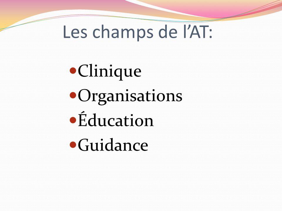 Les champs de lAT: Clinique Organisations Éducation Guidance