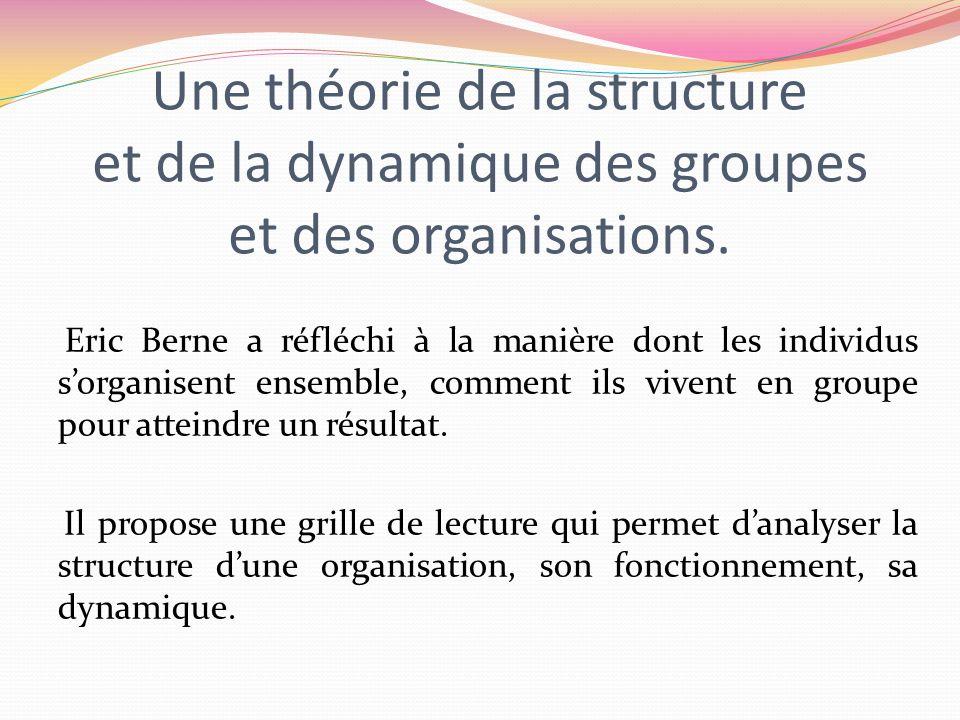 Une théorie de la structure et de la dynamique des groupes et des organisations. Eric Berne a réfléchi à la manière dont les individus sorganisent ens