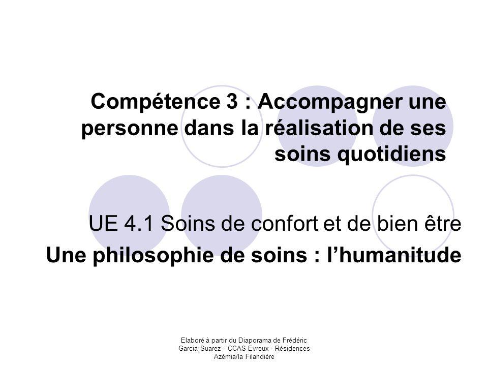 Elaboré à partir du Diaporama de Frédéric Garcia Suarez - CCAS Evreux - Résidences Azémia/la Filandière Compétence 3 : Accompagner une personne dans l