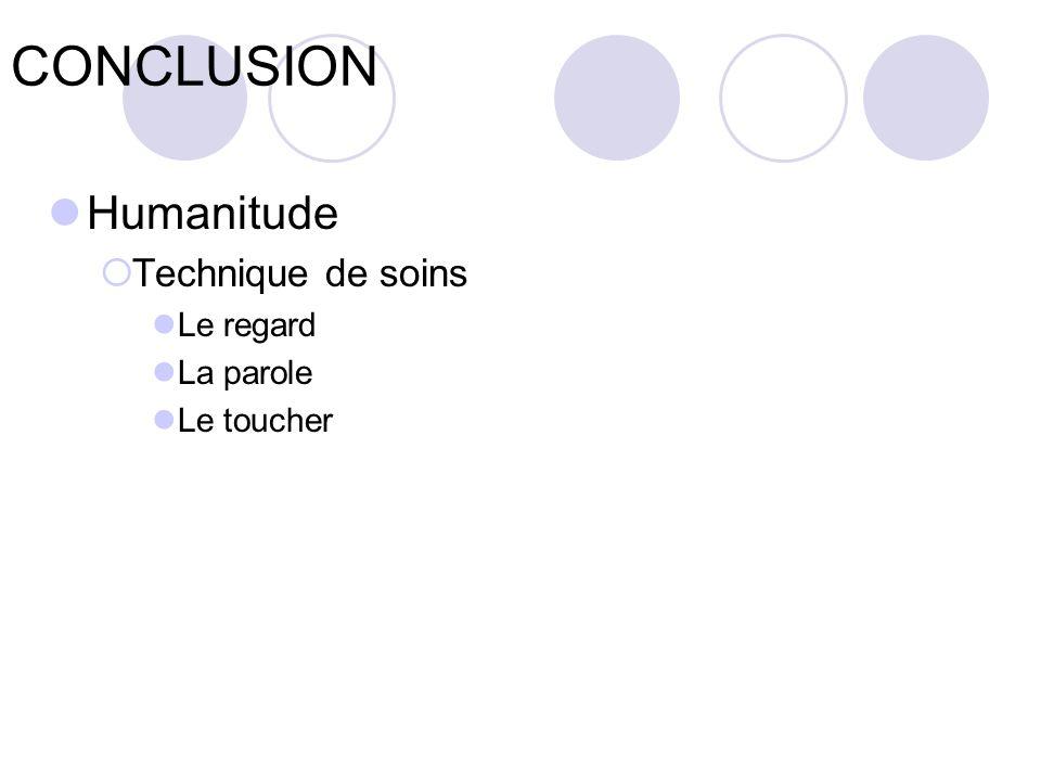 CONCLUSION Humanitude Technique de soins Le regard La parole Le toucher