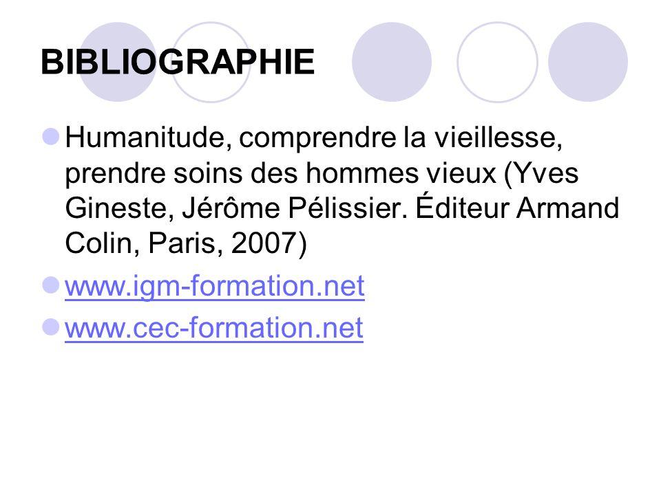 BIBLIOGRAPHIE Humanitude, comprendre la vieillesse, prendre soins des hommes vieux (Yves Gineste, Jérôme Pélissier. Éditeur Armand Colin, Paris, 2007)