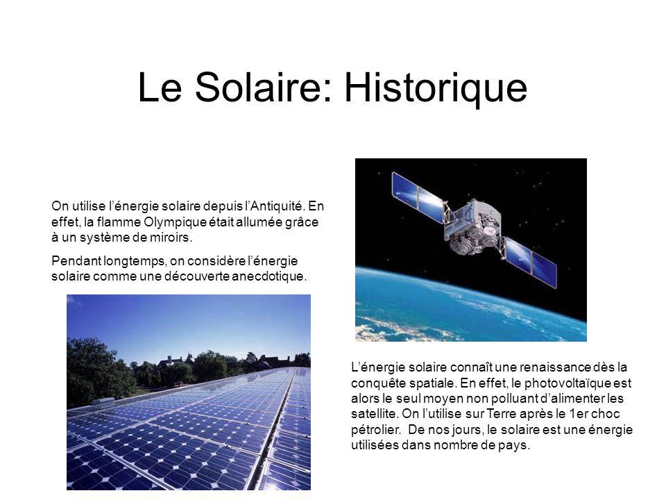 Le Solaire: Historique On utilise lénergie solaire depuis lAntiquité. En effet, la flamme Olympique était allumée grâce à un système de miroirs. Penda