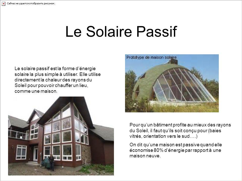 Le Solaire Passif Le solaire passif est la forme dénergie solaire la plus simple à utiliser. Elle utilise directement la chaleur des rayons du Soleil