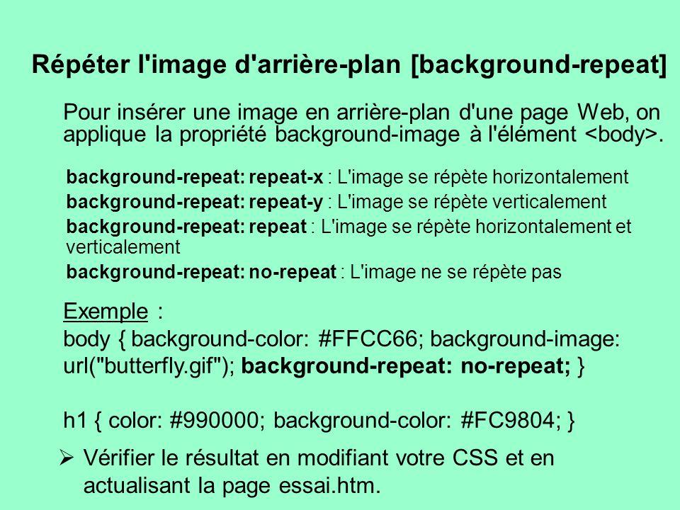 Répéter l'image d'arrière-plan [background-repeat] Pour insérer une image en arrière-plan d'une page Web, on applique la propriété background-image à