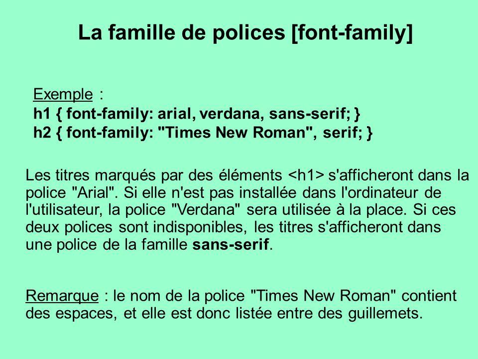 La famille de polices [font-family] Les titres marqués par des éléments s'afficheront dans la police