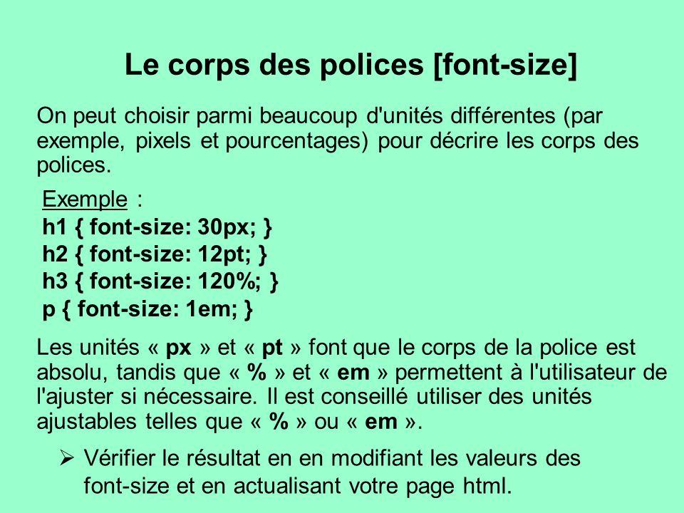 Le corps des polices [font-size] On peut choisir parmi beaucoup d'unités différentes (par exemple, pixels et pourcentages) pour décrire les corps des