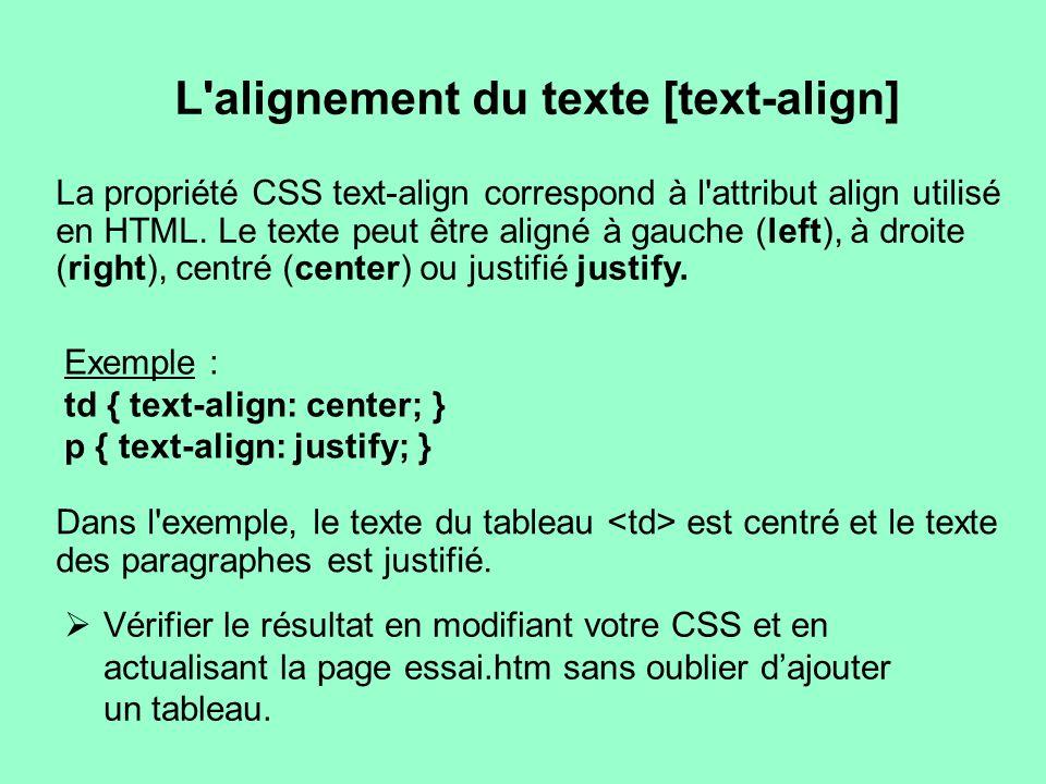 L'alignement du texte [text-align] La propriété CSS text-align correspond à l'attribut align utilisé en HTML. Le texte peut être aligné à gauche (left