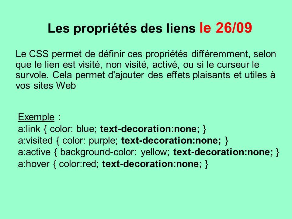 Les propriétés des liens le 26/09 Le CSS permet de définir ces propriétés différemment, selon que le lien est visité, non visité, activé, ou si le cur