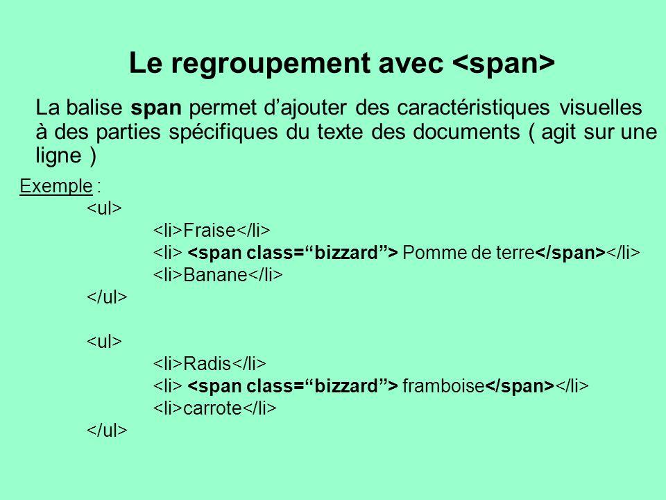 Le regroupement avec La balise span permet dajouter des caractéristiques visuelles à des parties spécifiques du texte des documents ( agit sur une lig