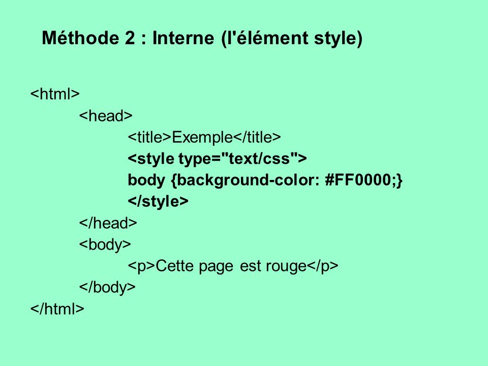 Méthode 2 : Interne (l'élément style) Exemple body {background-color: #FF0000;} Cette page est rouge