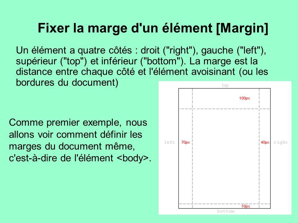 Fixer la marge d'un élément [Margin] Un élément a quatre côtés : droit (