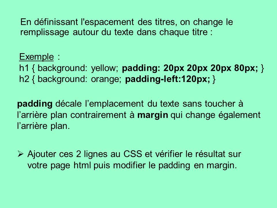 En définissant l'espacement des titres, on change le remplissage autour du texte dans chaque titre : Exemple : h1 { background: yellow; padding: 20px