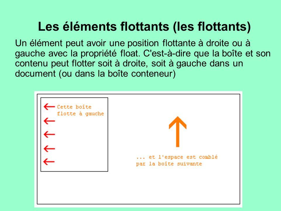 Les éléments flottants (les flottants) Un élément peut avoir une position flottante à droite ou à gauche avec la propriété float. C'est-à-dire que la