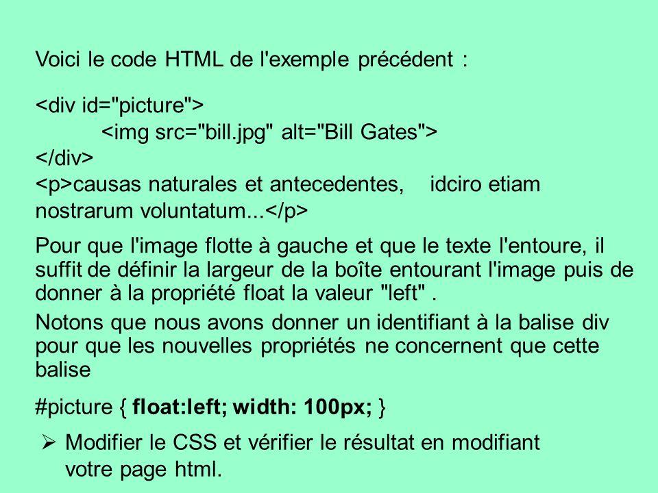 Voici le code HTML de l'exemple précédent : causas naturales et antecedentes, idciro etiam nostrarum voluntatum... Pour que l'image flotte à gauche et