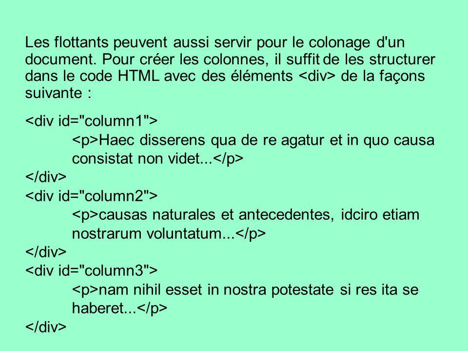 Les flottants peuvent aussi servir pour le colonage d'un document. Pour créer les colonnes, il suffit de les structurer dans le code HTML avec des élé