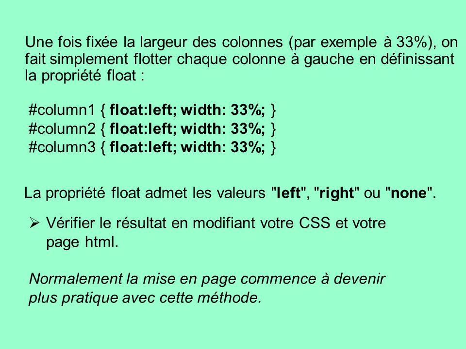 Une fois fixée la largeur des colonnes (par exemple à 33%), on fait simplement flotter chaque colonne à gauche en définissant la propriété float : #co