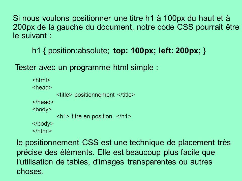 h1 { position:absolute; top: 100px; left: 200px; } Si nous voulons positionner une titre h1 à 100px du haut et à 200px de la gauche du document, notre