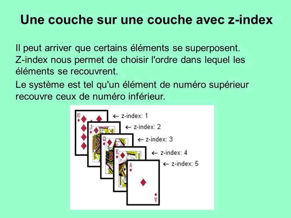 Il peut arriver que certains éléments se superposent. Z-index nous permet de choisir l'ordre dans lequel les éléments se recouvrent. Une couche sur un