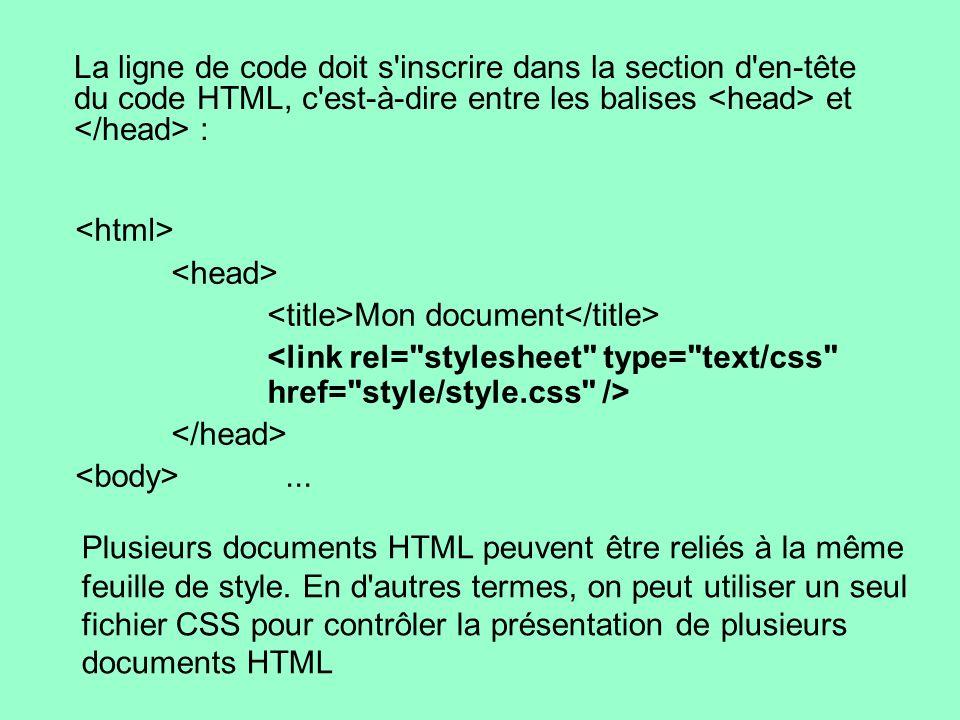 La ligne de code doit s'inscrire dans la section d'en-tête du code HTML, c'est-à-dire entre les balises et : Mon document... Plusieurs documents HTML
