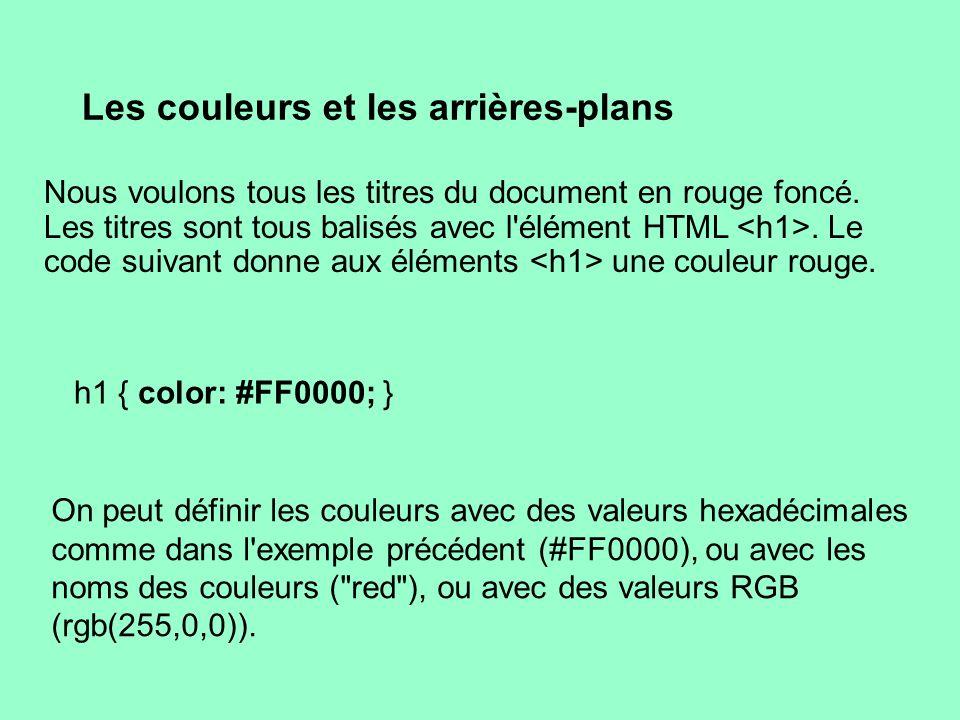 Les couleurs et les arrières-plans Nous voulons tous les titres du document en rouge foncé. Les titres sont tous balisés avec l'élément HTML. Le code