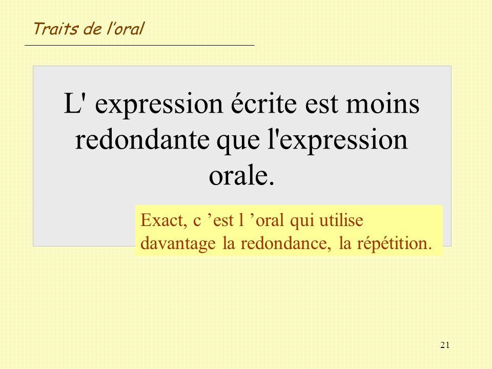 21 L' expression écrite est moins redondante que l'expression orale. Vrai / Faux ? Exact, c est l oral qui utilise davantage la redondance, la répétit