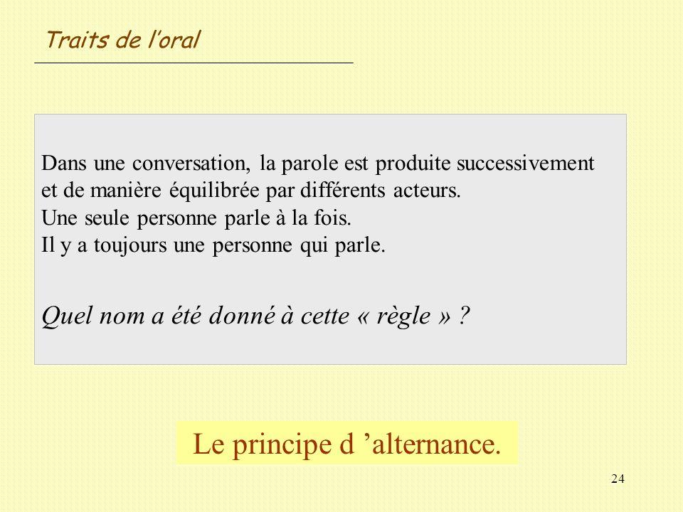 24 Dans une conversation, la parole est produite successivement et de manière équilibrée par différents acteurs. Une seule personne parle à la fois. I