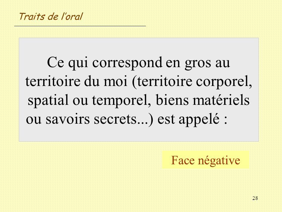 28 Ce qui correspond en gros au territoire du moi (territoire corporel, spatial ou temporel, biens matériels ou savoirs secrets...) est appelé : Face