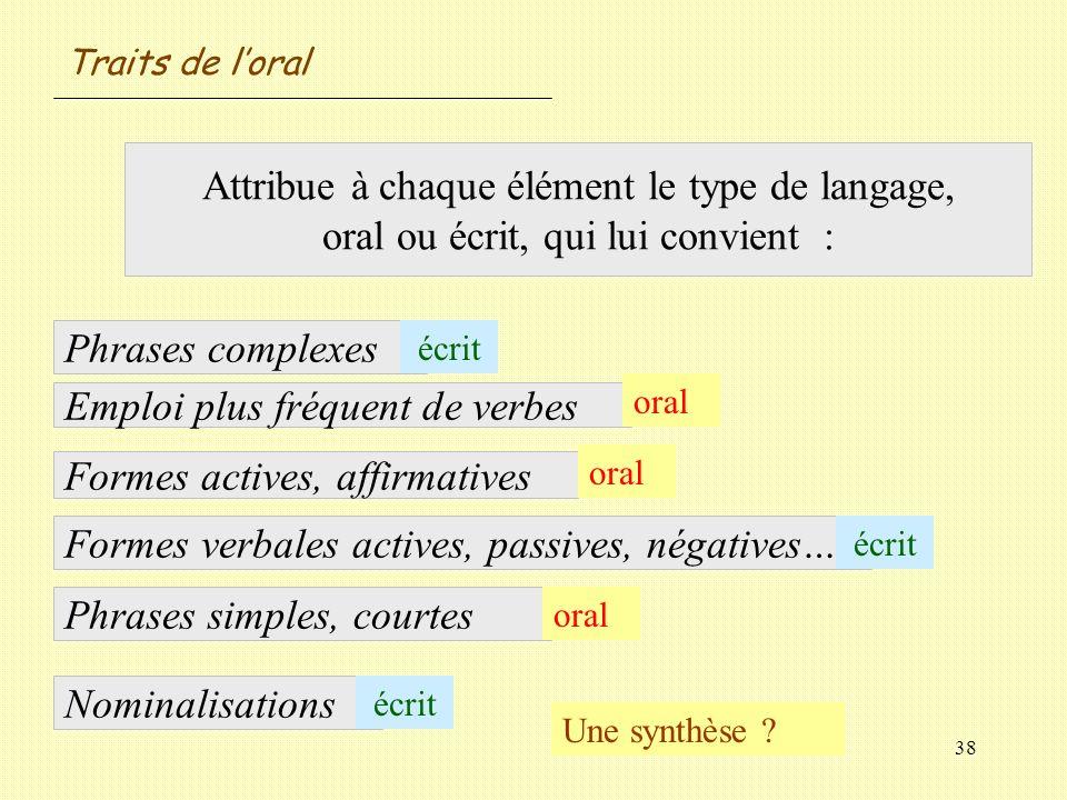 38 Attribue à chaque élément le type de langage, oral ou écrit, qui lui convient : Nominalisations Phrases complexes Emploi plus fréquent de verbes Fo