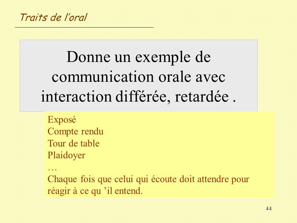 44 Donne un exemple de communication orale avec interaction différée, retardée. Exposé Compte rendu Tour de table Plaidoyer … Chaque fois que celui qu