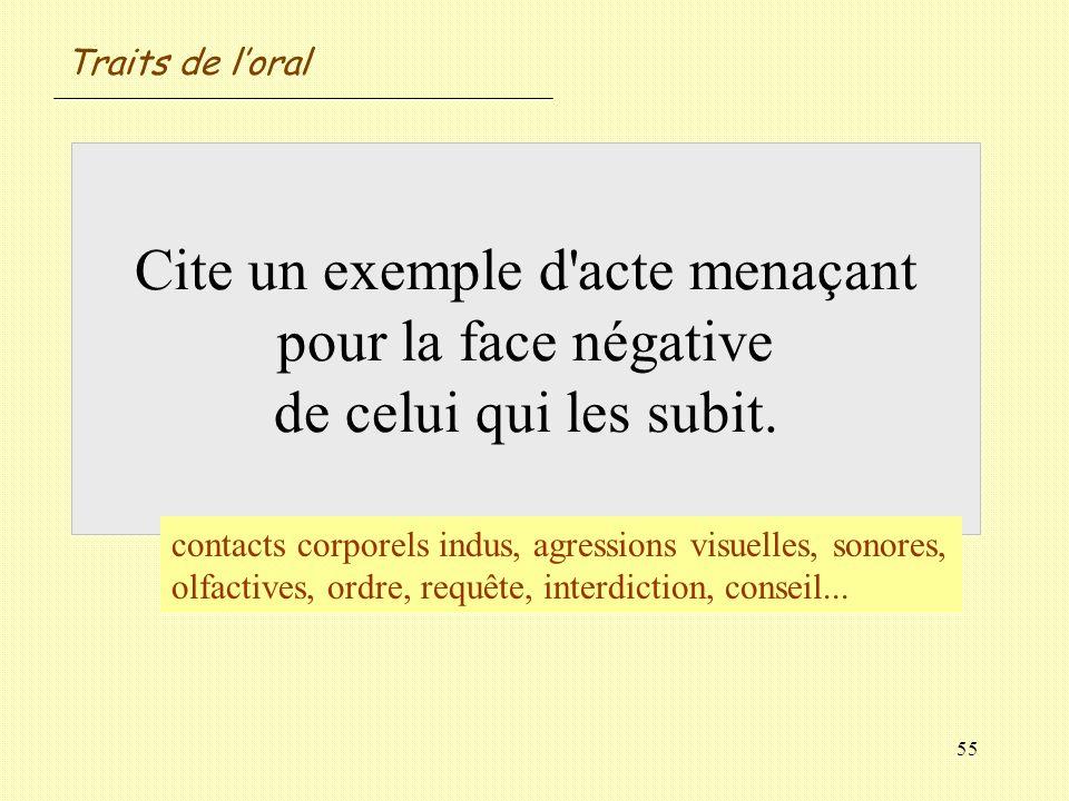 55 Cite un exemple d'acte menaçant pour la face négative de celui qui les subit. contacts corporels indus, agressions visuelles, sonores, olfactives,