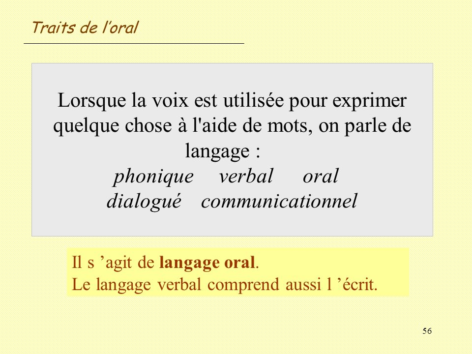 56 Lorsque la voix est utilisée pour exprimer quelque chose à l'aide de mots, on parle de langage : phonique verbaloral dialoguécommunicationnel Il s