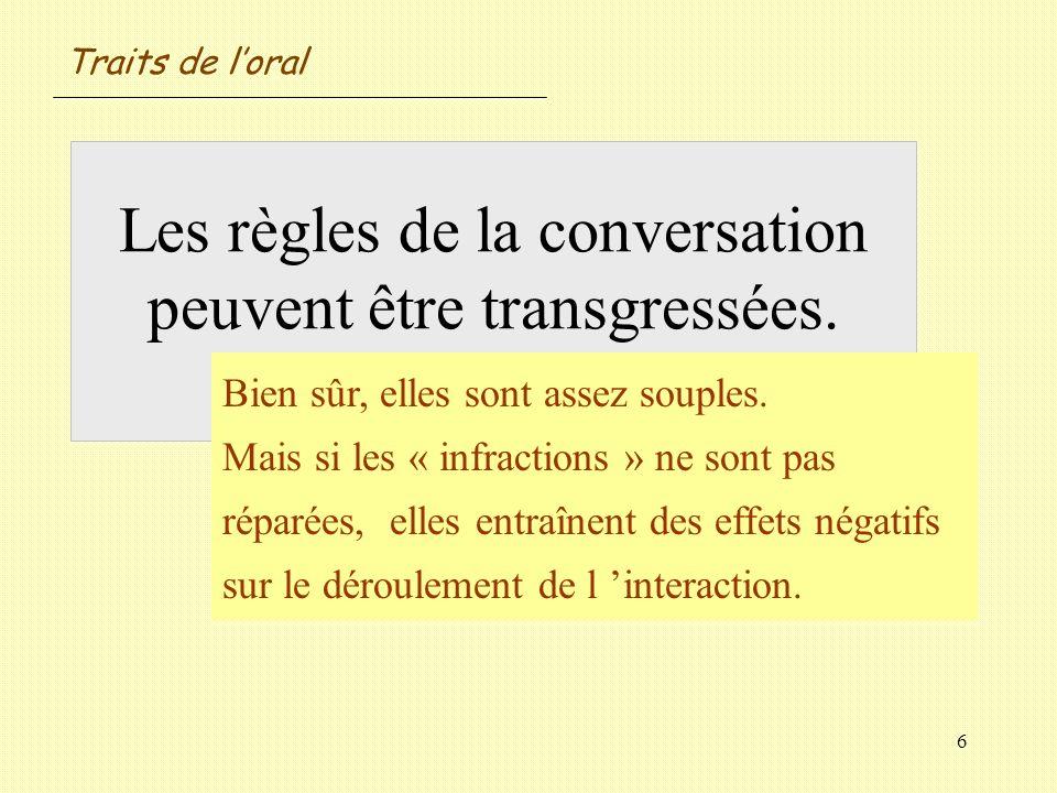 6 Les règles de la conversation peuvent être transgressées. Oui / Non ? Bien sûr, elles sont assez souples. Mais si les « infractions » ne sont pas ré