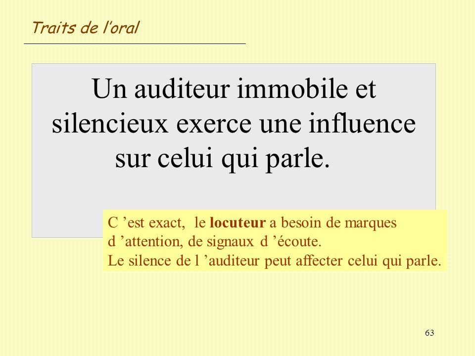 63 Un auditeur immobile et silencieux exerce une influence sur celui qui parle. Vrai / Faux ? C est exact, le locuteur a besoin de marques d attention