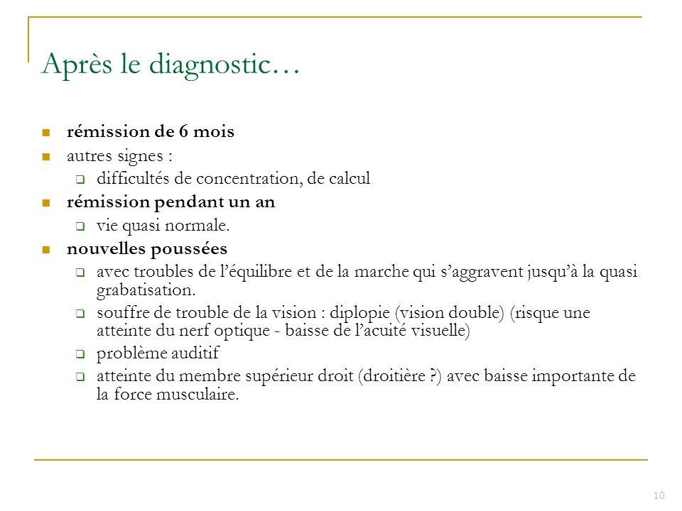 Après le diagnostic… rémission de 6 mois autres signes : difficultés de concentration, de calcul rémission pendant un an vie quasi normale. nouvelles