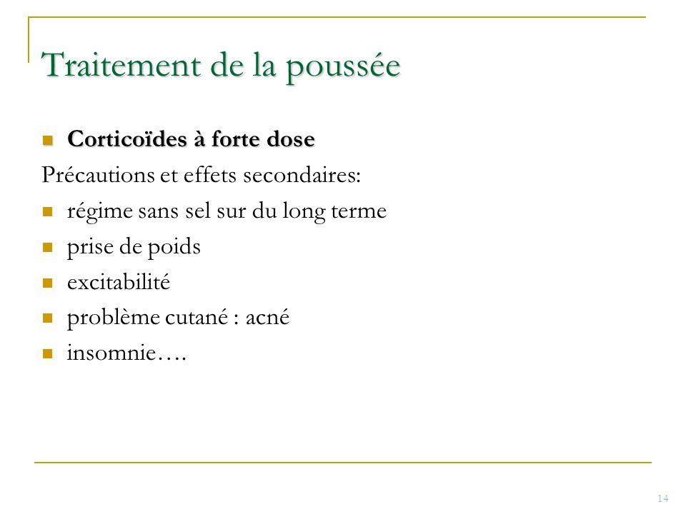 Traitement de la poussée Corticoïdes à forte dose Corticoïdes à forte dose Précautions et effets secondaires: régime sans sel sur du long terme prise