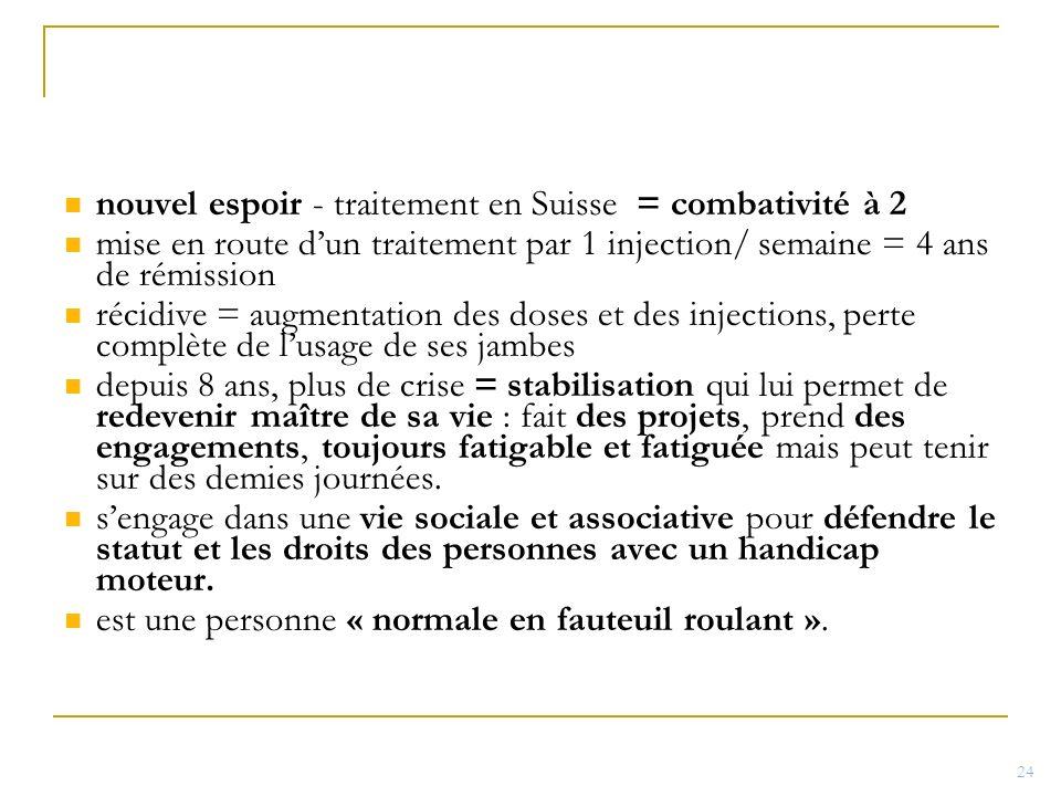 nouvel espoir - traitement en Suisse = combativité à 2 mise en route dun traitement par 1 injection/ semaine = 4 ans de rémission récidive = augmentat
