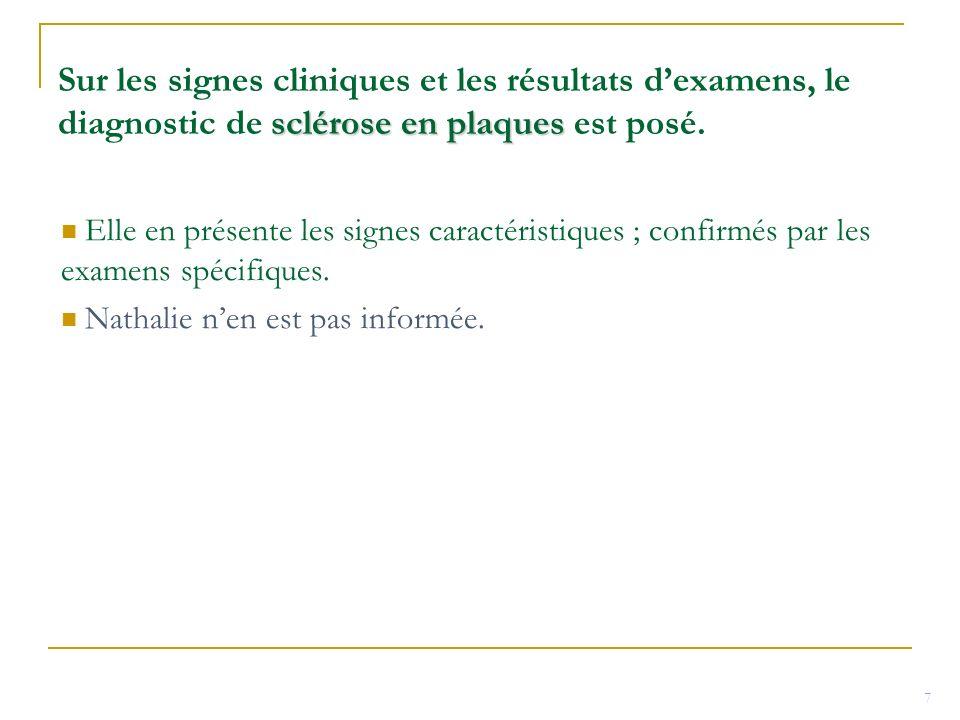 sclérose en plaques Sur les signes cliniques et les résultats dexamens, le diagnostic de sclérose en plaques est posé. Elle en présente les signes car