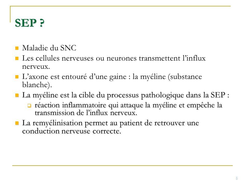 SEP ? Maladie du SNC Les cellules nerveuses ou neurones transmettent linflux nerveux. Laxone est entouré dune gaine : la myéline (substance blanche).