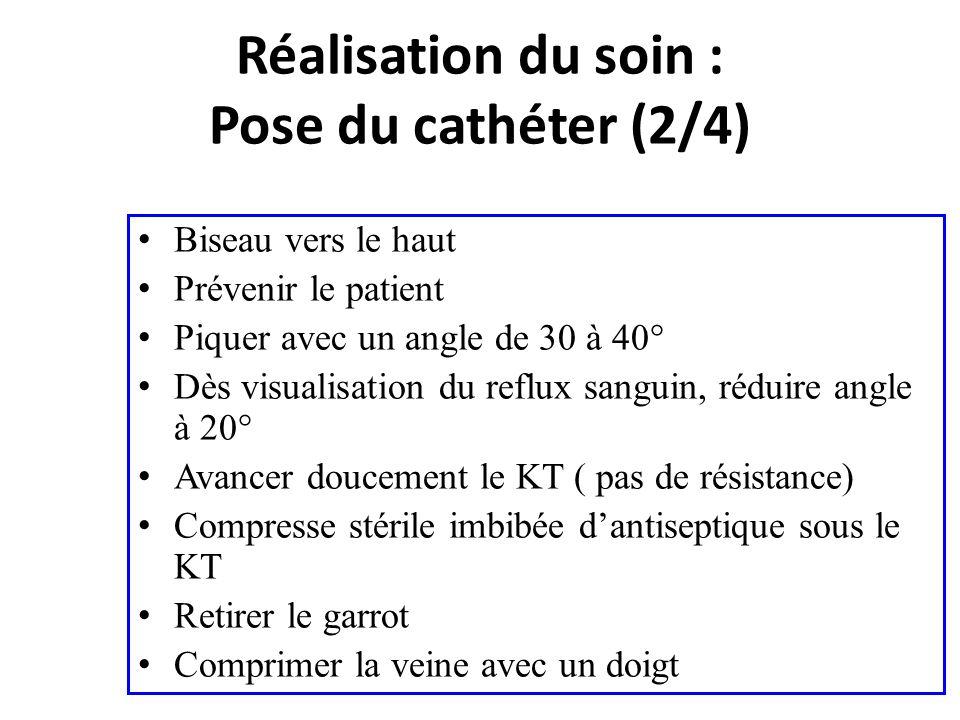 Biseau vers le haut Prévenir le patient Piquer avec un angle de 30 à 40° Dès visualisation du reflux sanguin, réduire angle à 20° Avancer doucement le
