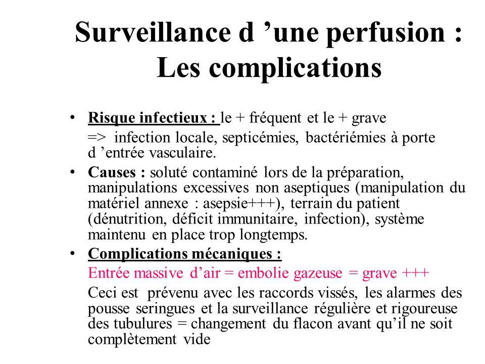 Surveillance d une perfusion : Les complications Risque infectieux : le + fréquent et le + grave => infection locale, septicémies, bactériémies à port